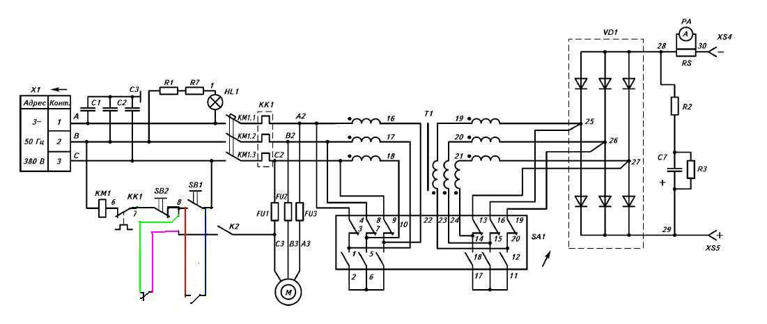 Сварочный аппарат вд-306 схема электрическая диодного моста